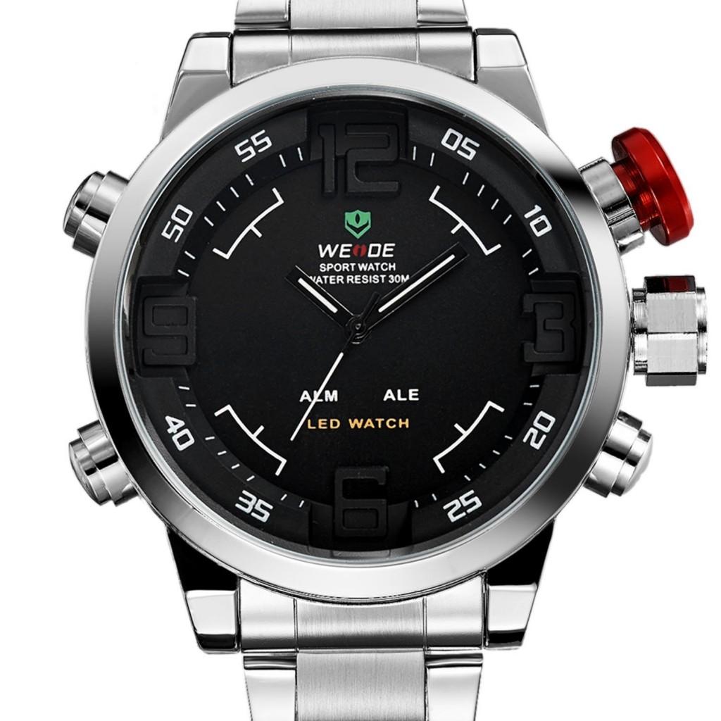 ab291b3fa ... Pánské hodinky Weide Hard - Stříbrno-černé + poštovné jen za 1 Kč
