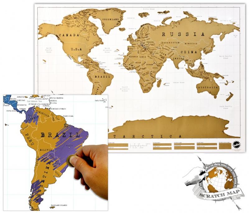 Velka Stiraci Mapa Sveta Scratch Map S Vyznacenymi Staty
